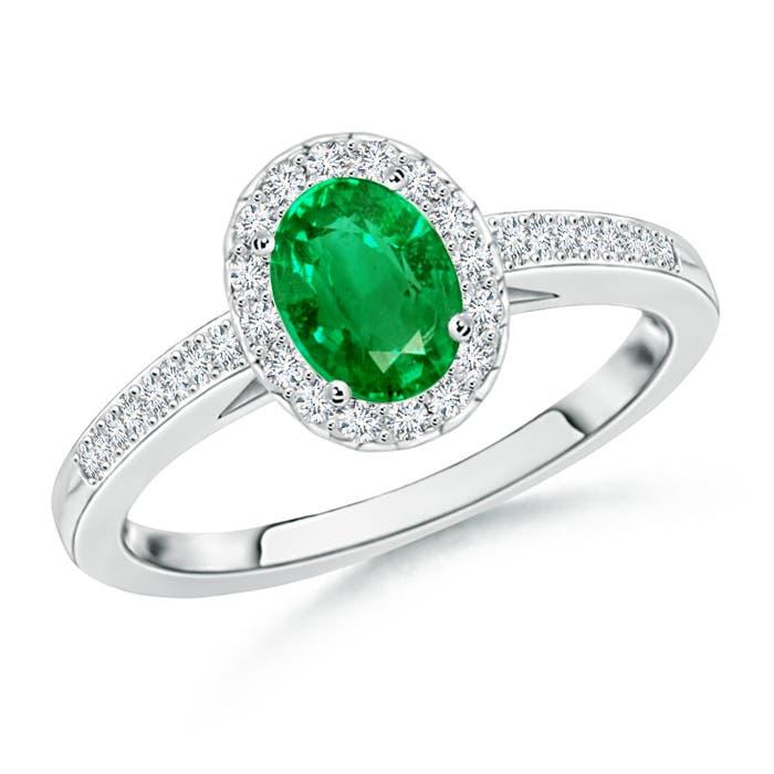 Angara Oval Emerald Diamond Halo Engagement Ring in White Gold erjChnUvk