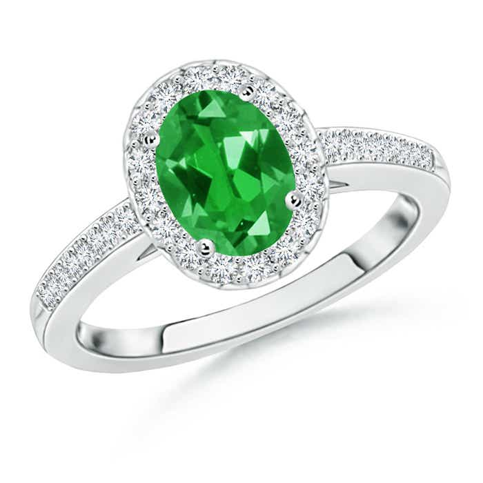 Lab Created Oval Emerald Halo Ring with Diamond Accents - Angara.com