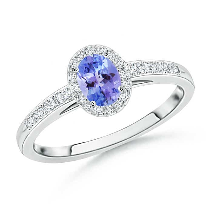 Angara Natural Tanzanite and Diamond Halo Ring in Platinum zTuB4