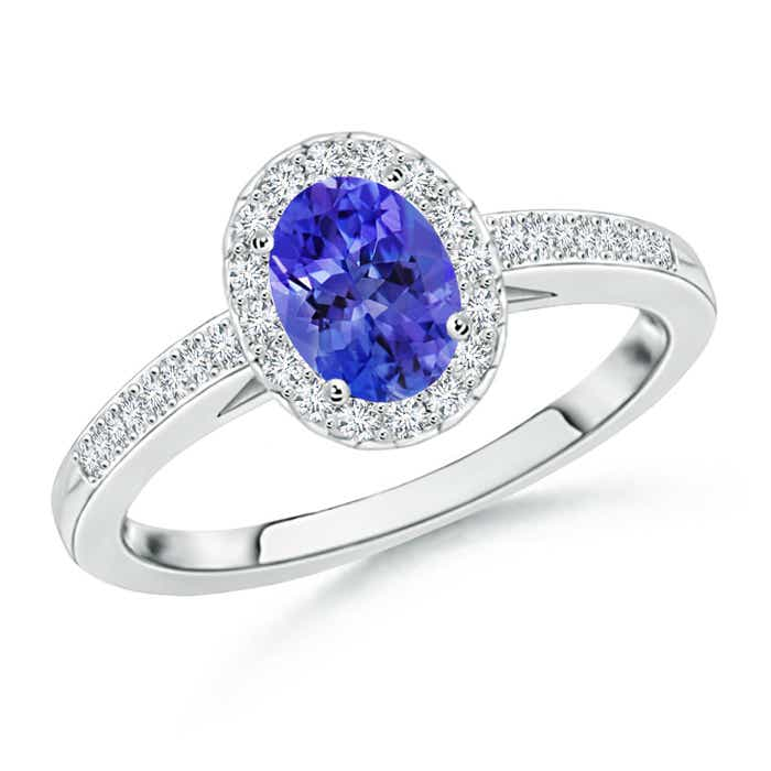 Angara Diamond Halo Natural Tanzanite Solitaire Engagement Ring in Platinum uDz7r0xZL