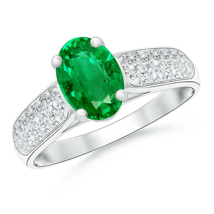 Angara Round Emerald Solitaire Ring with Diamond in Platinum