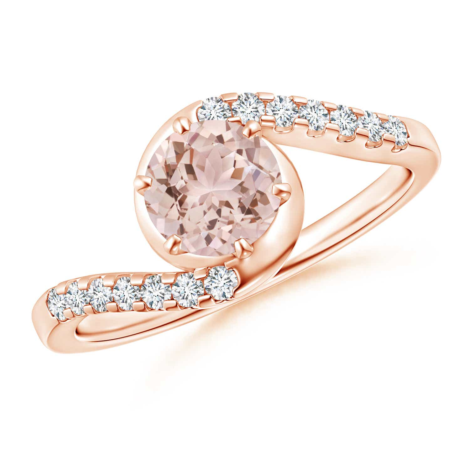 Prong Set Morganite Bypass Ring with Diamond Accents - Angara.com