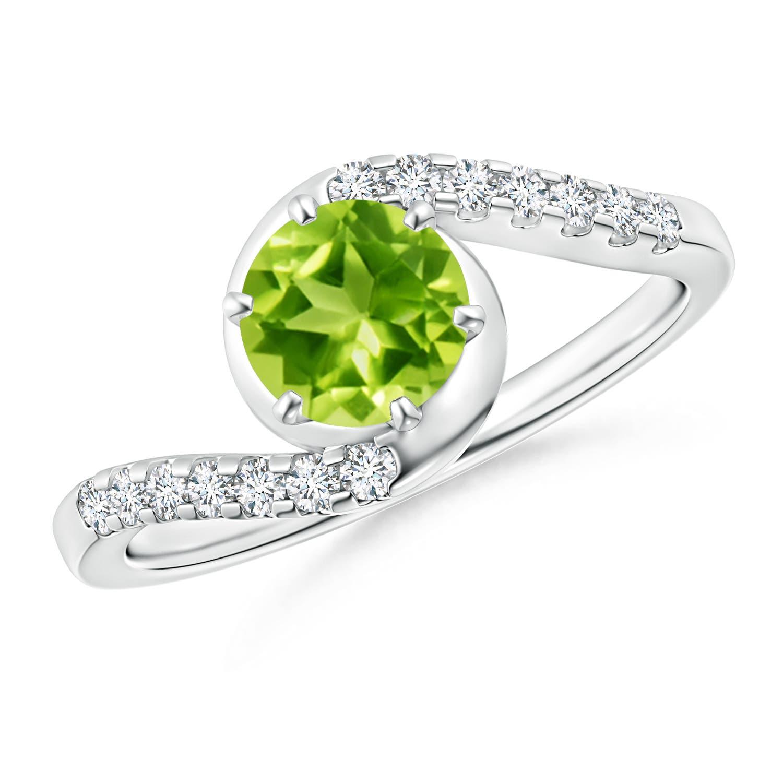 Prong Set Peridot Bypass Ring with Diamond Accents - Angara.com