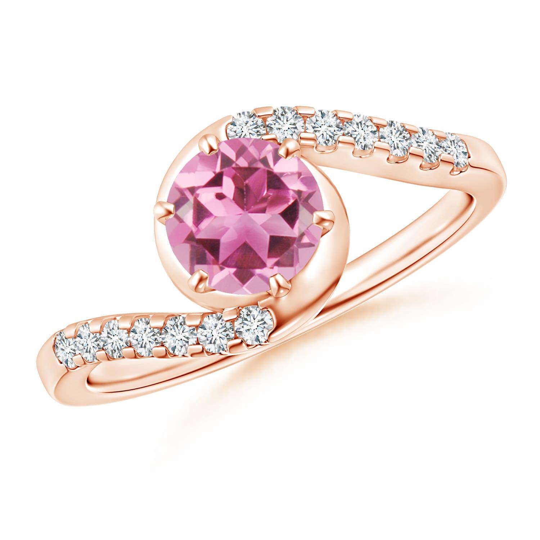 Prong Set Pink Tourmaline Bypass Ring with Diamond Accents - Angara.com