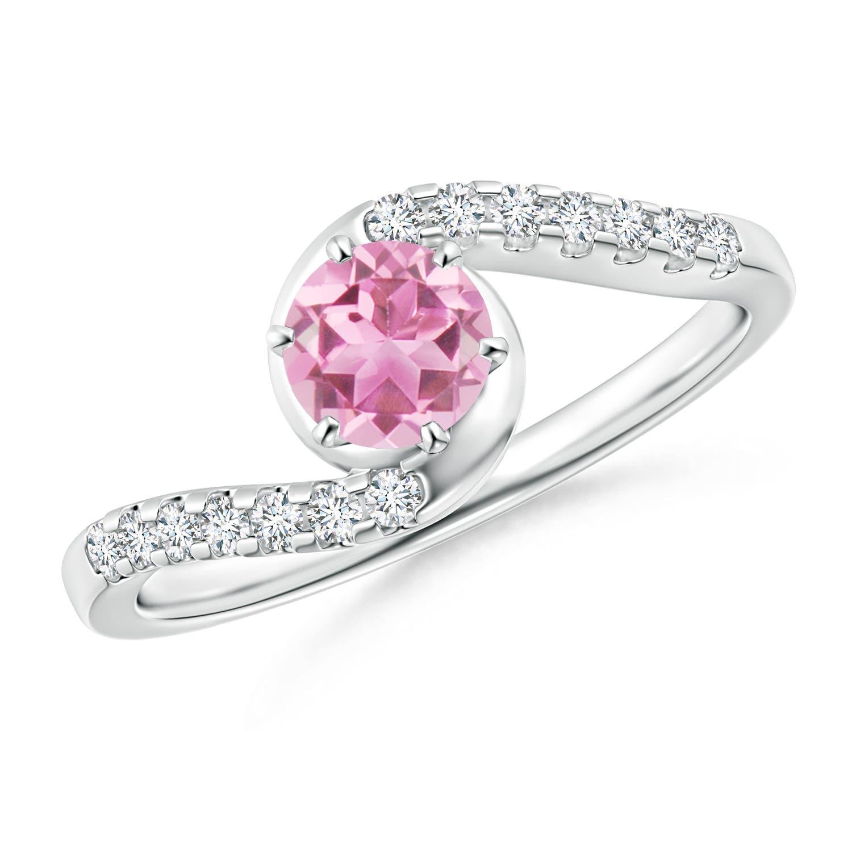 Angara Prong Set Round Pink Tourmaline and Diamond 3-Stone Ring in Rose Gold Tmb4fXZy