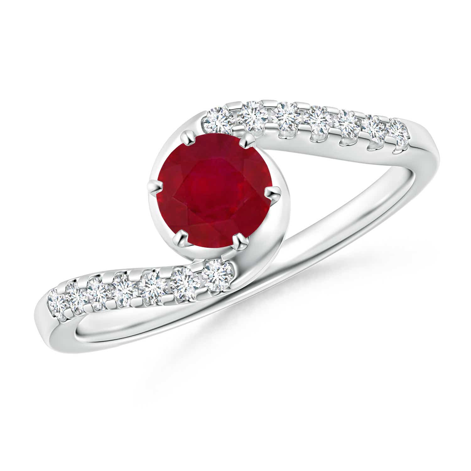 Angara Four Prong Ruby Halo Ring in White Gold mVkUmnJr3d
