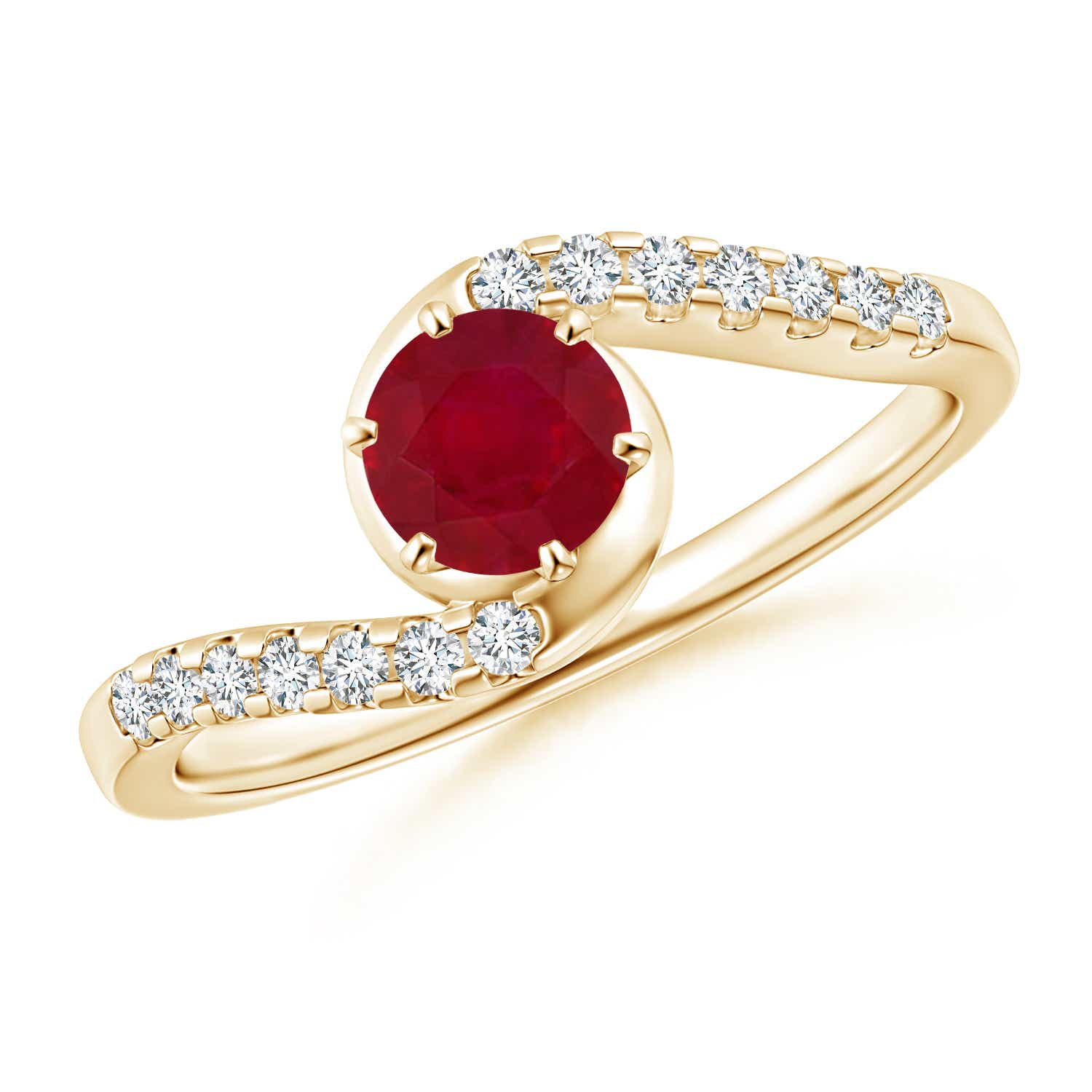 Angara Five Ruby Ring in 14k Yellow Gold 0cMXclDxD