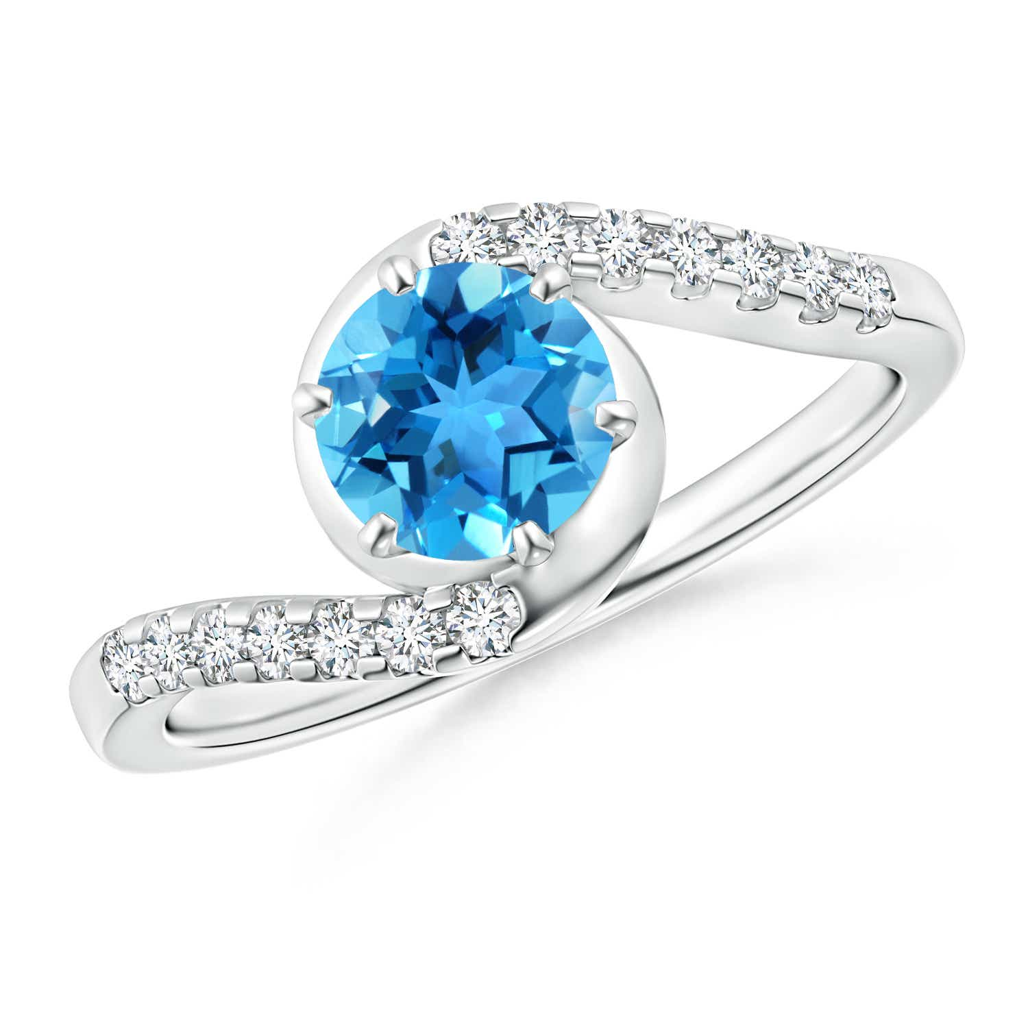 Prong Set Swiss Blue Topaz Bypass Ring with Diamond Accents - Angara.com