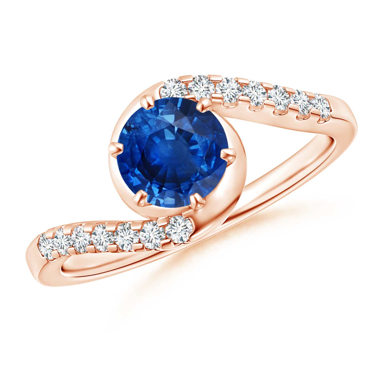 Prong Set Sapphire Bypass Ring with Diamond Accents - Angara.com