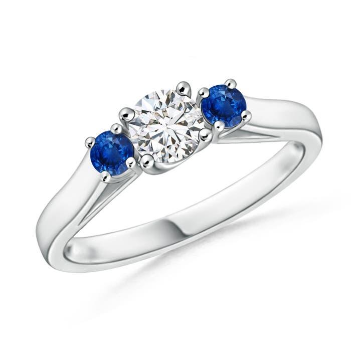 Angara White Gold Three Stone Diamond Ring with Prong Setting FoocHYImJk