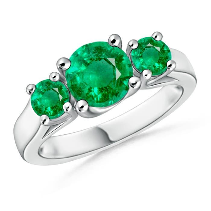 Classic Prong Set Emerald Three Stone Ring - Angara.com