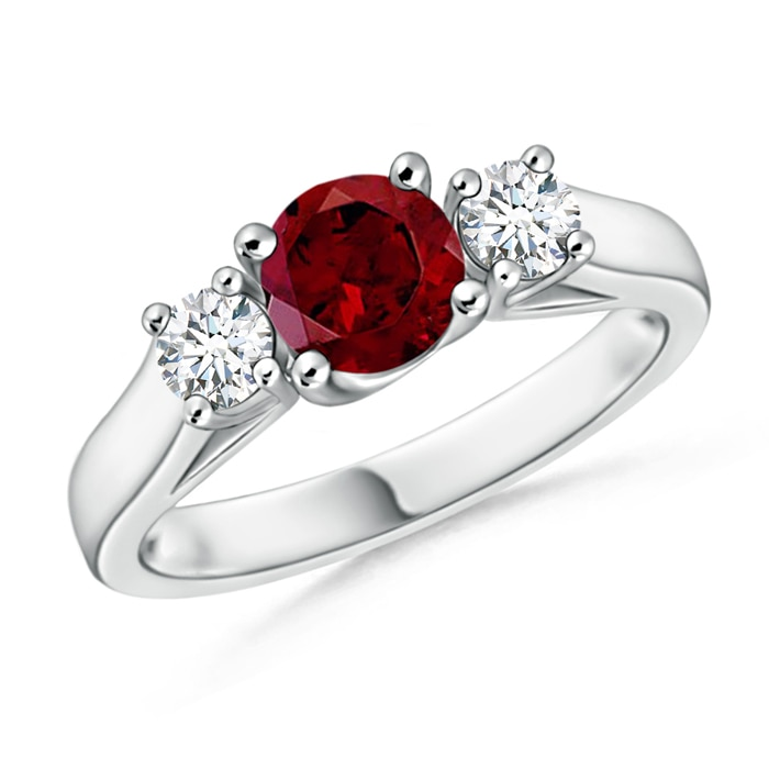 Classic Cathedral Garnet and Diamond Three Stone Ring - Angara.com