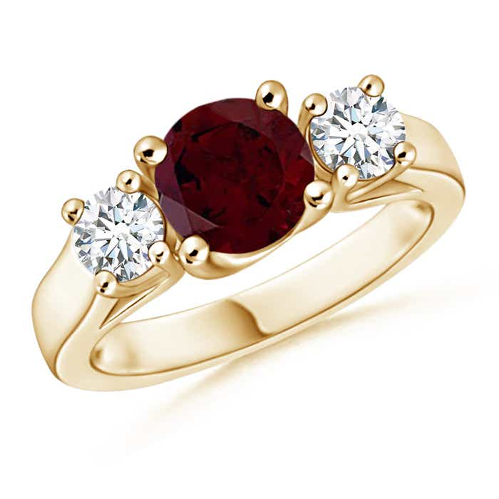 Angara Trellis Ruby and Diamond Three Stone Ring in 14k White Gold