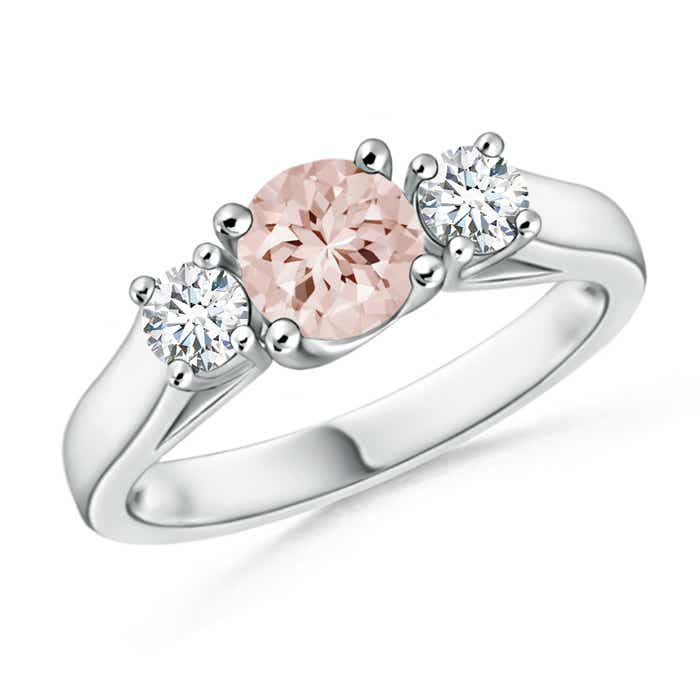 Angara Three Stone Morganite Diamond Ring in Platinum ivw8I