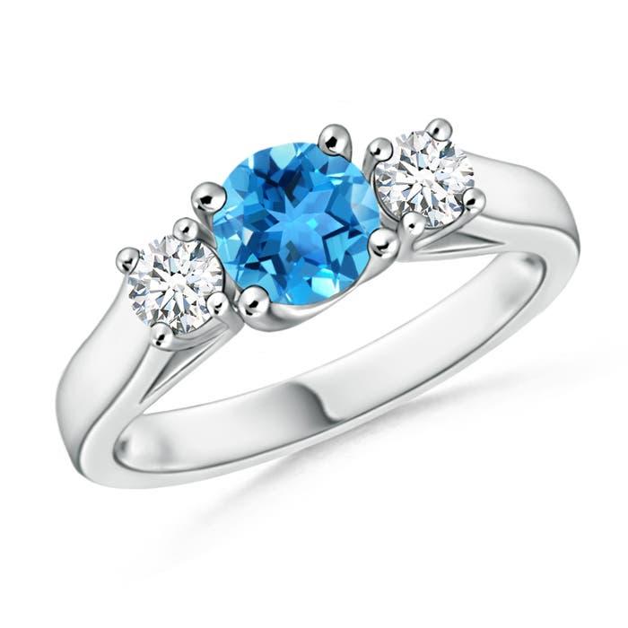 Classic Cathedral Swiss Blue Topaz and Diamond Three Stone Ring - Angara.com