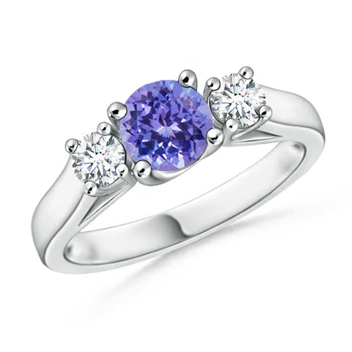 Angara Three Stone Blue Sapphire and Diamond Cathedral Ring in 14k White Gold MFVqDvK