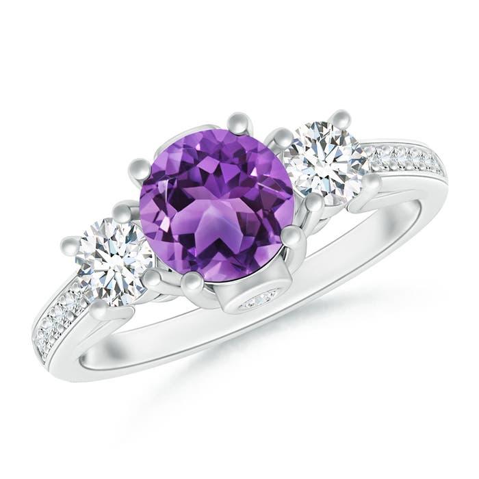 Angara Three Stone Amethyst Diamond Engagement Ring in Rose Gold 5boeGu