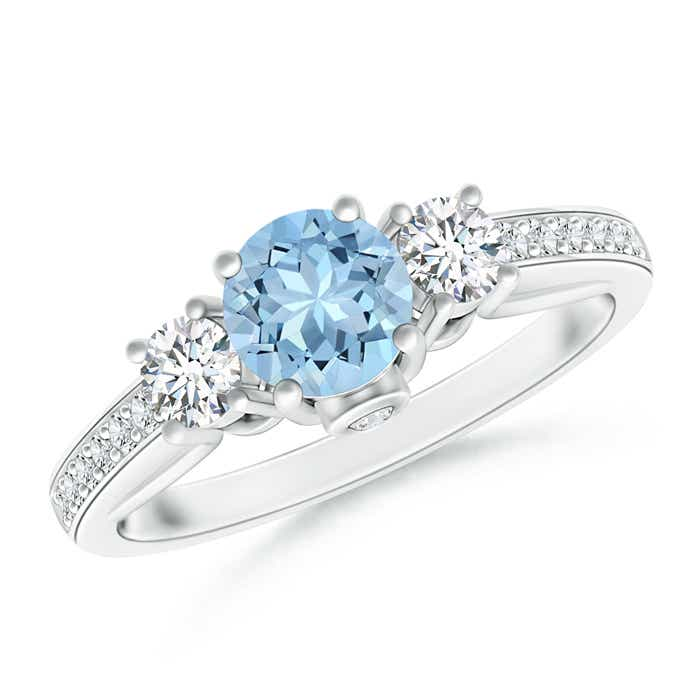 Angara Aquamarine Diamond Three Stone Engagement Ring in White Gold qLSf9FHG