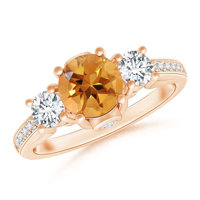 Angara Citrine Diamond Three Stone Engagement Ring in White Gold urvfTwJ0su