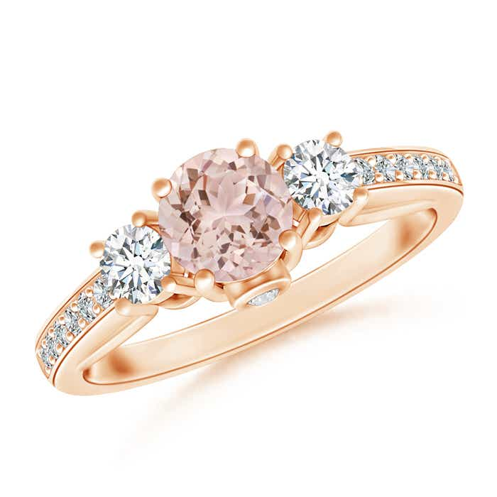 Classic Prong Set Round Morganite and Diamond Three Stone Ring - Angara.com