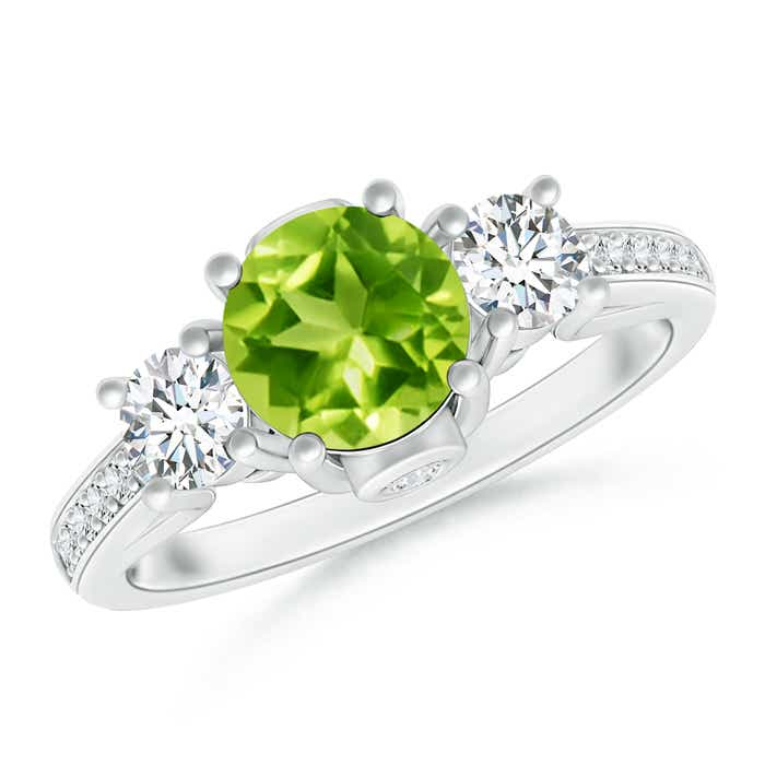 Angara Classic Prong Set Round Peridot and Diamond Three Stone Ring 6WFF5