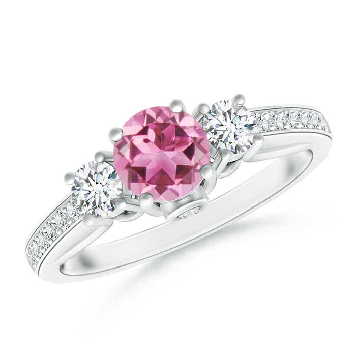 Angara Classic Round Pink Tourmaline and Diamond Halo Ring in Platinum dwafH