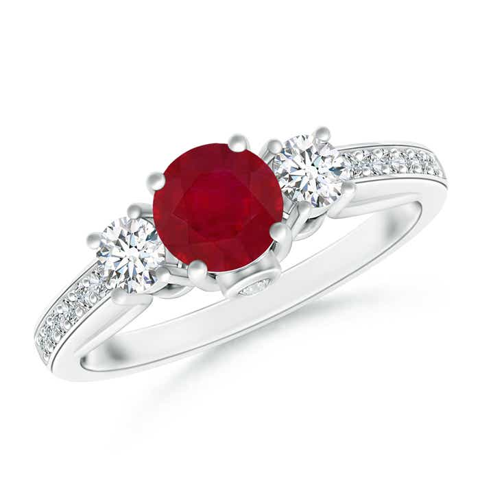Angara 3 Stone Natural Ruby Engagement Ring in Yellow Gold
