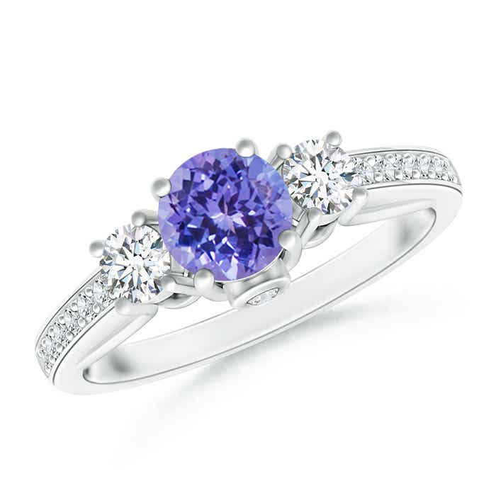 Classic Prong Set Round Tanzanite and Diamond Three Stone Ring - Angara.com
