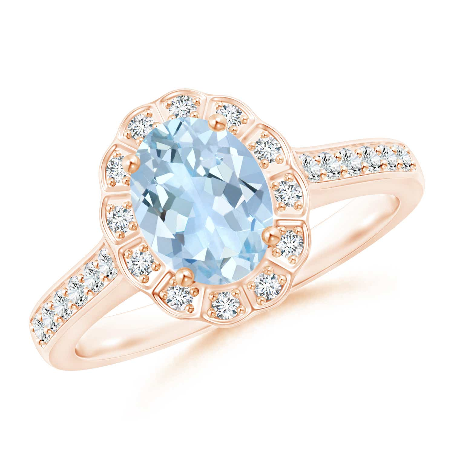 Angara Oval Aquamarine and Diamond Floral Vintage Ring in Yellow Gold OXJX3biyZF
