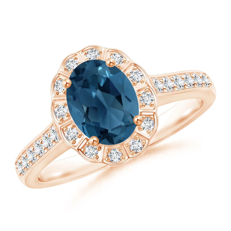 Angara Pear London Blue Topaz Ring with Diamond Halo pXBOcfVK