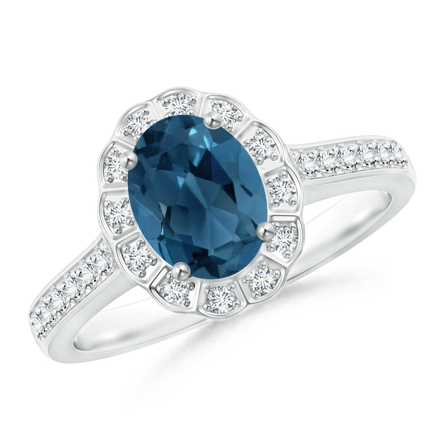 Angara Vintage Style London Blue Topaz Engagement Ring in White Gold O4ef8Yu8fK