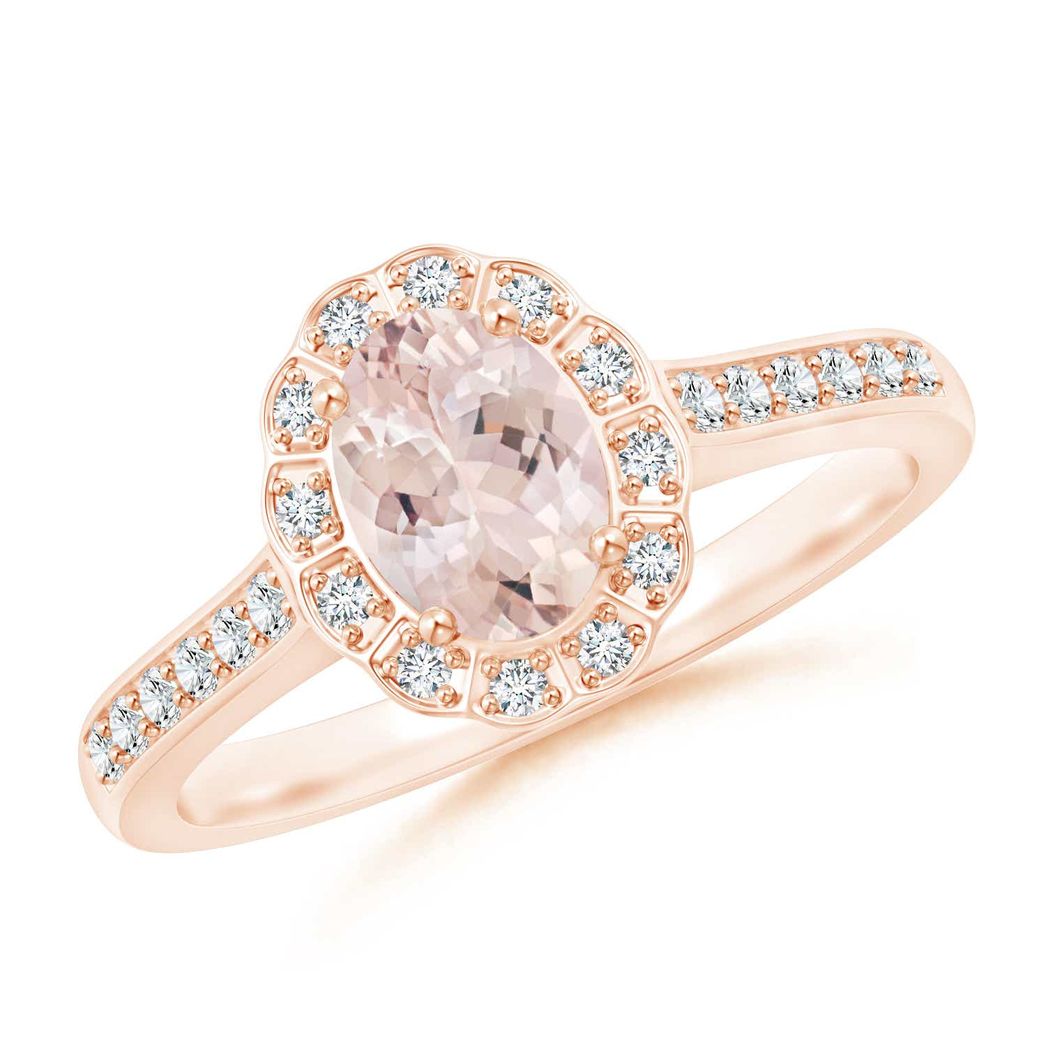 Angara Vintage Morganite Engagement Ring in Rose Gold