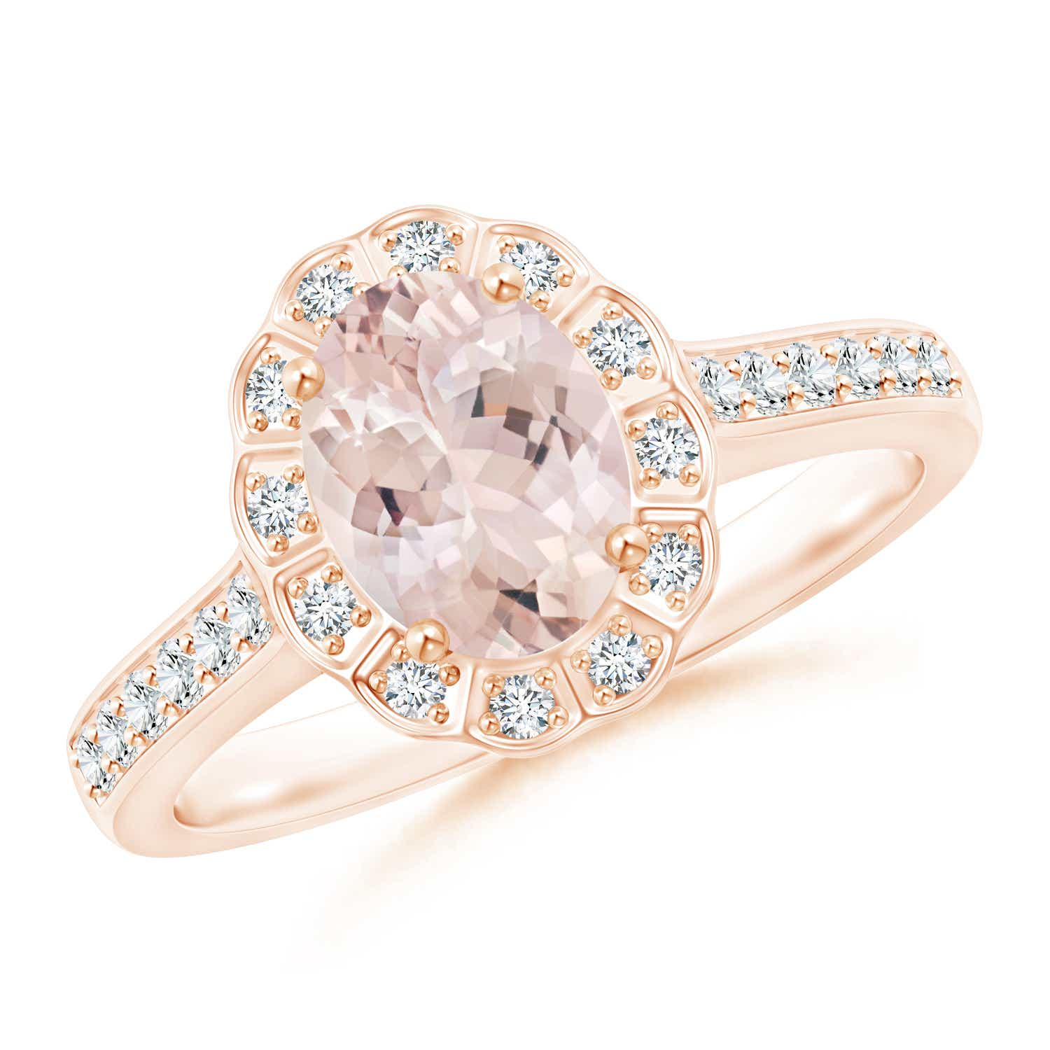 Angara Vintage Style Morganite Diamond Halo Ring YyXRG7Nd