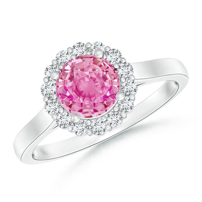 Vintage Cathedral Style Diamond Halo Pink Sapphire Ring - Angara.com