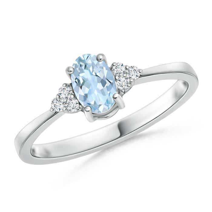Angara Oval Aquamarine Bypass Ring with Trio Diamond Accents oMyf92d