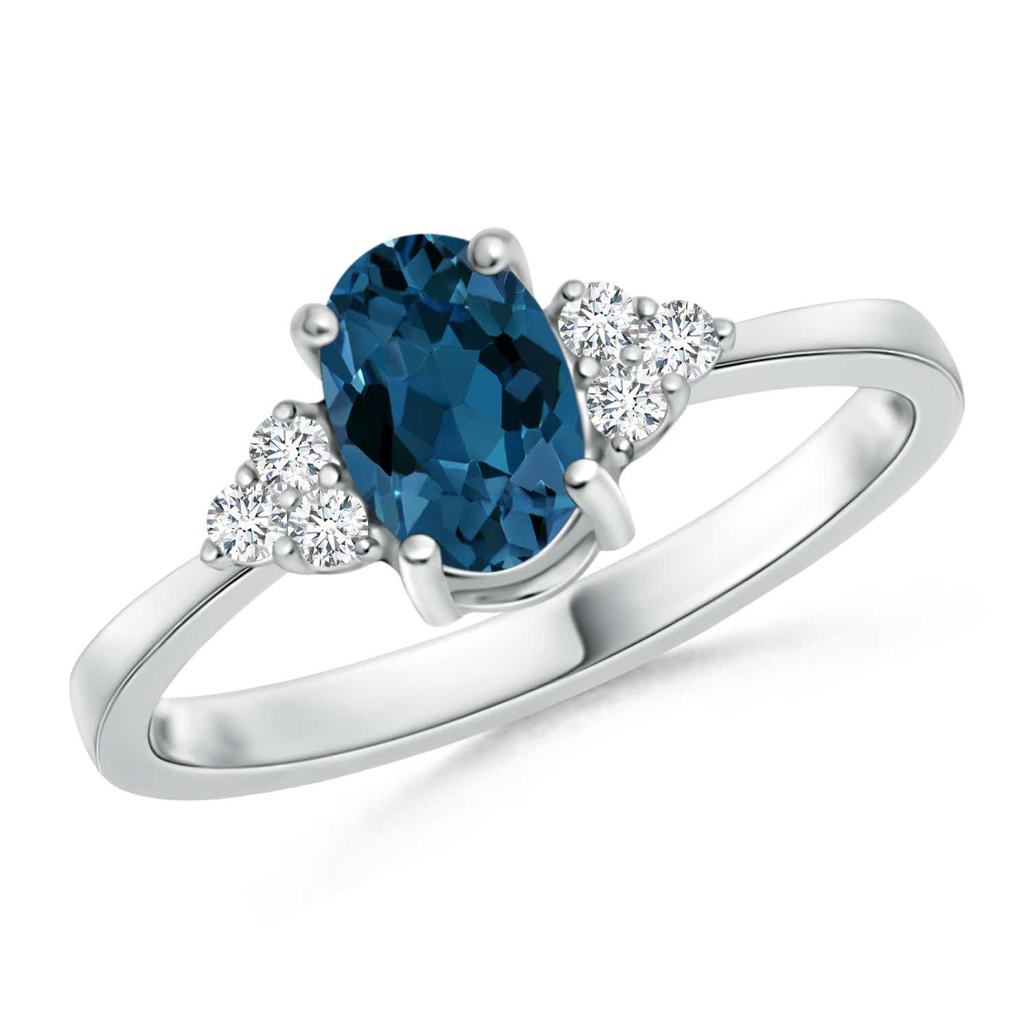 Angara Diamond Natural London Blue Topaz Three Stone Ring in White Gold AoMNz