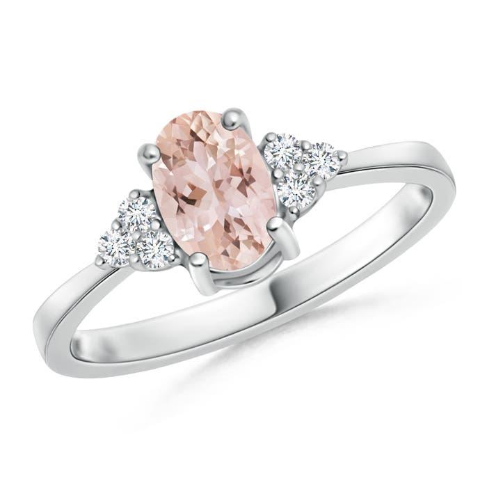 Solitaire Oval Morganite Ring with Trio Diamond Accents - Angara.com