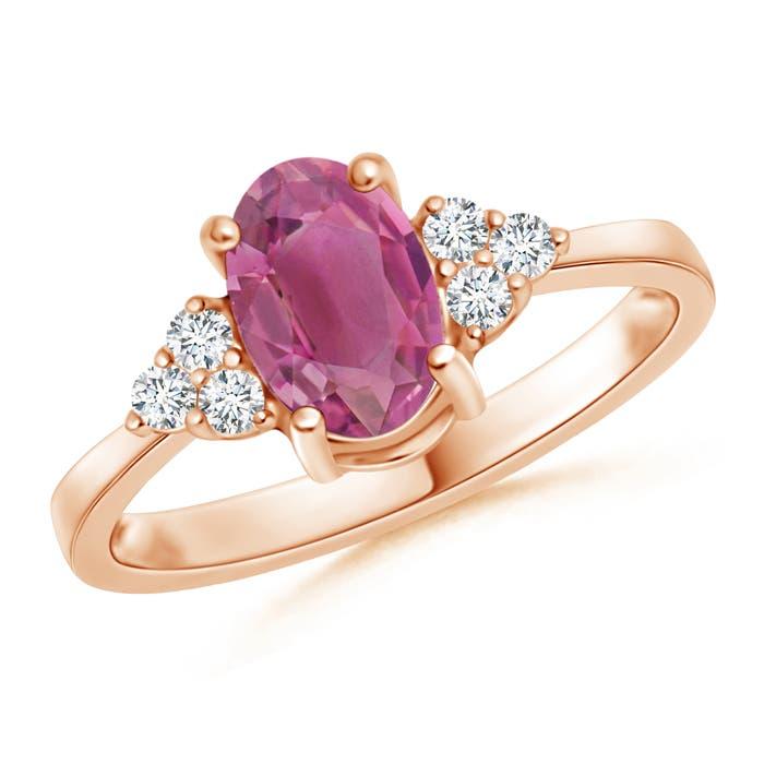 Angara Solitaire Oval Pink Tourmaline Trio Diamond Ring in 14K White Gold n3GaFhRmfU