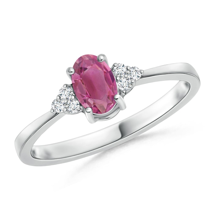 Solitaire Oval Pink Tourmaline Ring with Trio Diamond Accents - Angara.com
