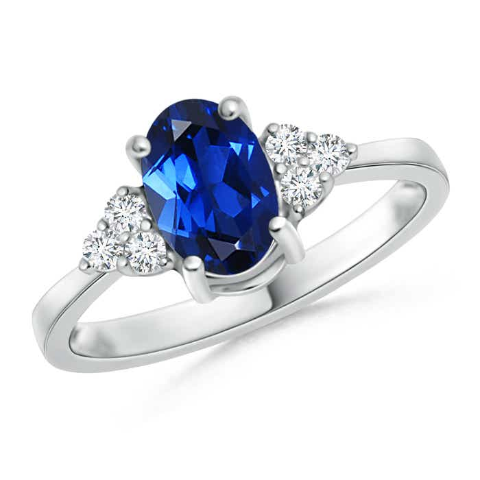 Solitaire Lab Created Sapphire and Diamond Promise Ring - Angara.com