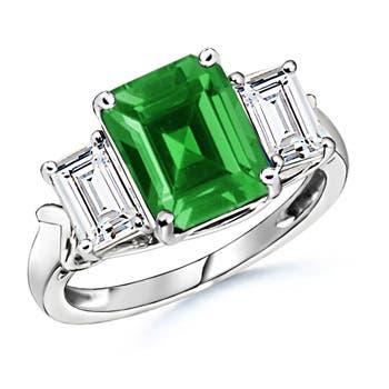 Lab Created Three Stone Emerald and Diamond Ring - Angara.com