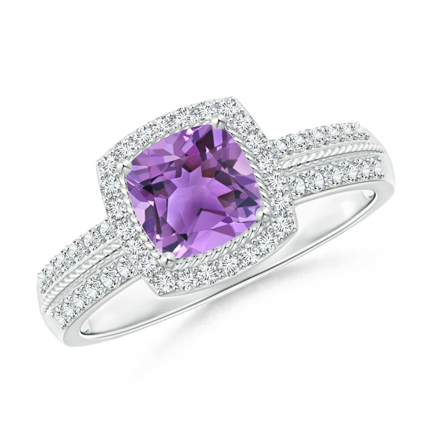 Angara Vintage Style Amethyst Engagement Ring in Platinum