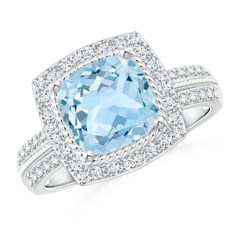 Vintage Cushion Aquamarine Halo Ring with Diamond Halo - Angara.com