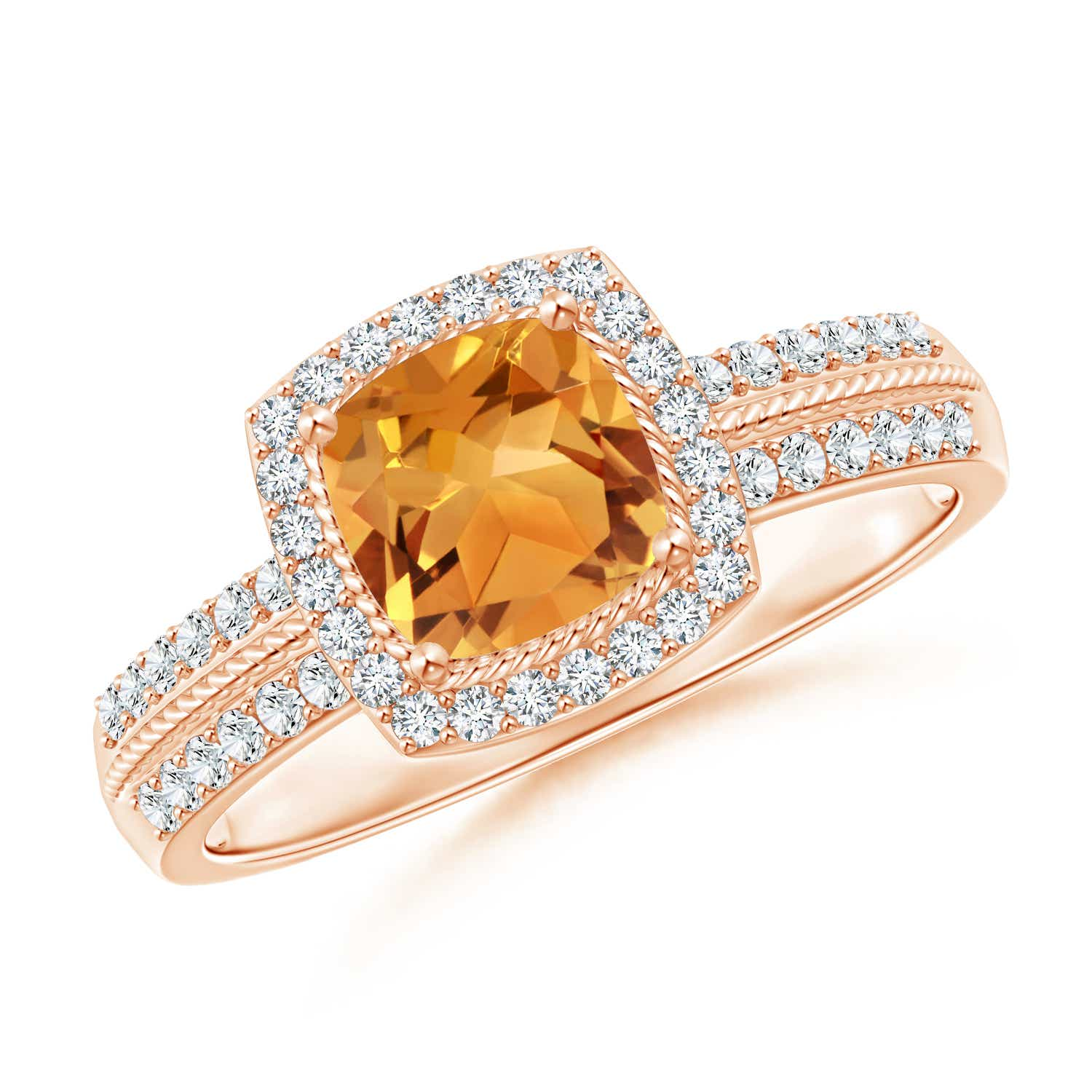 Angara Vintage Inspired Diamond Halo Cushion Citrine Ring in Platinum eSkE2layTR