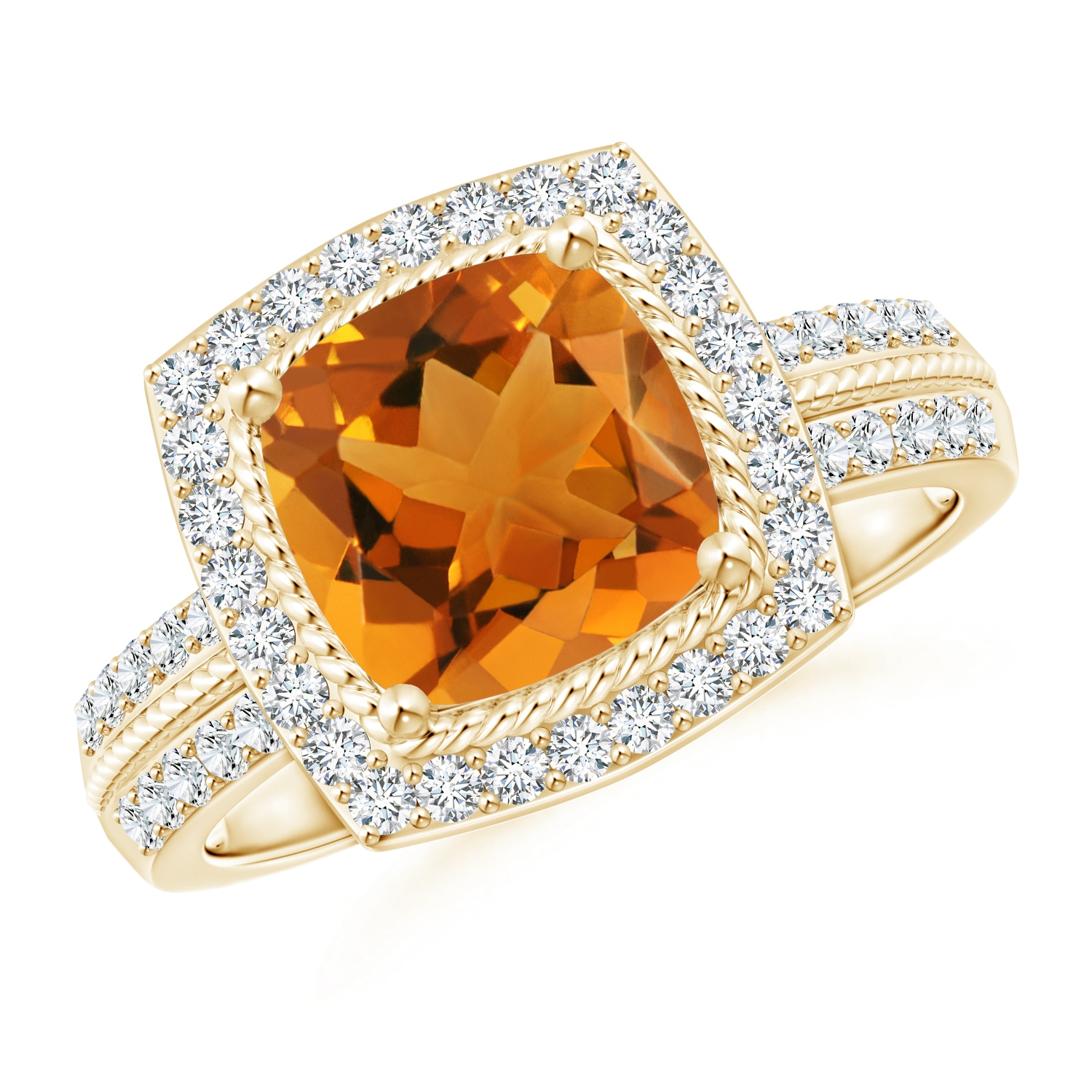 Vintage Cushion Citrine Halo Ring with Diamond Halo - Angara.com