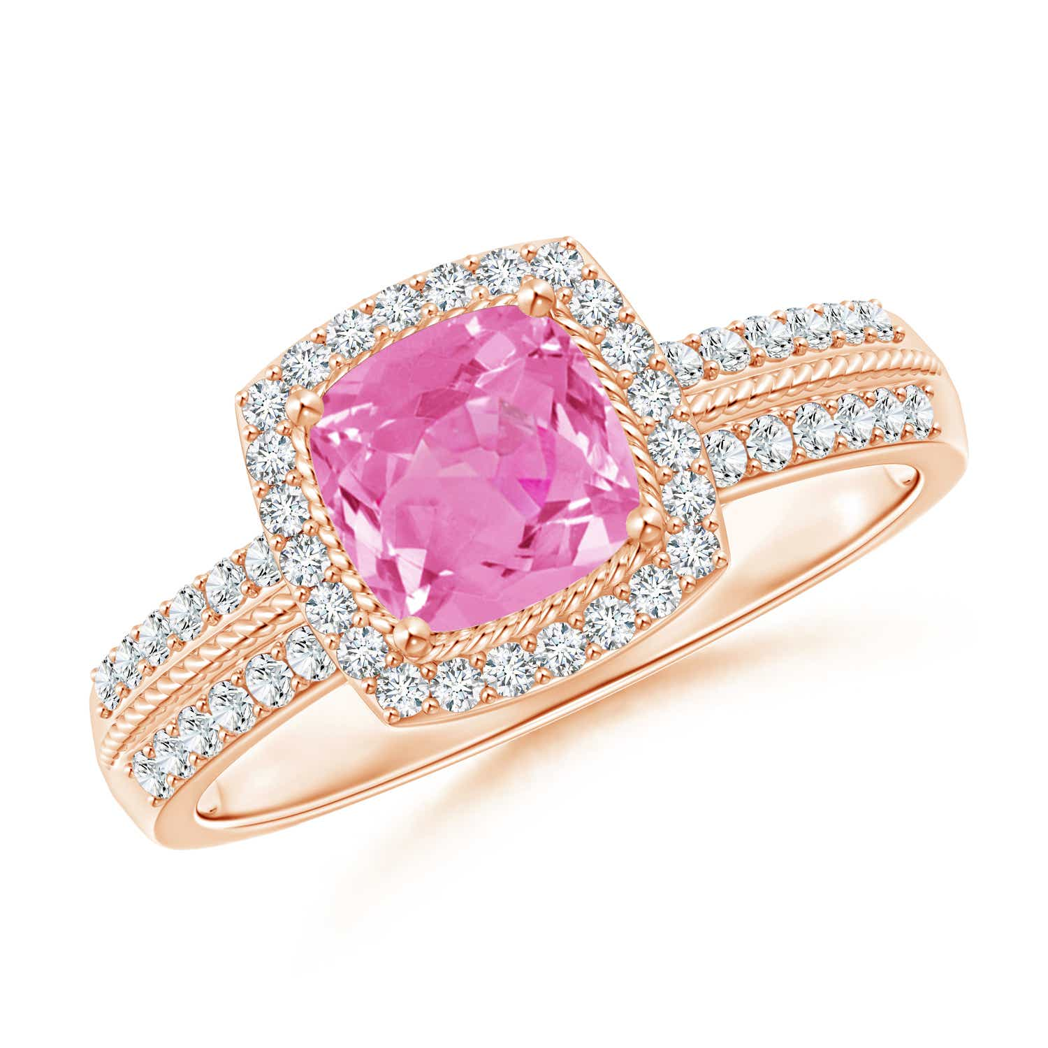 Oval Natural Pink Sapphire Diamond Halo Promise Ring 14K White Gold ...