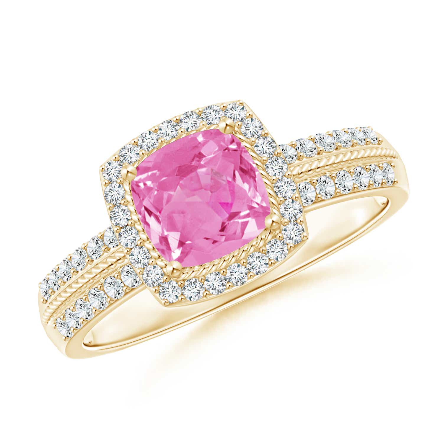 Angara Halo Oval Pink Sapphire and Diamond Promise Ring