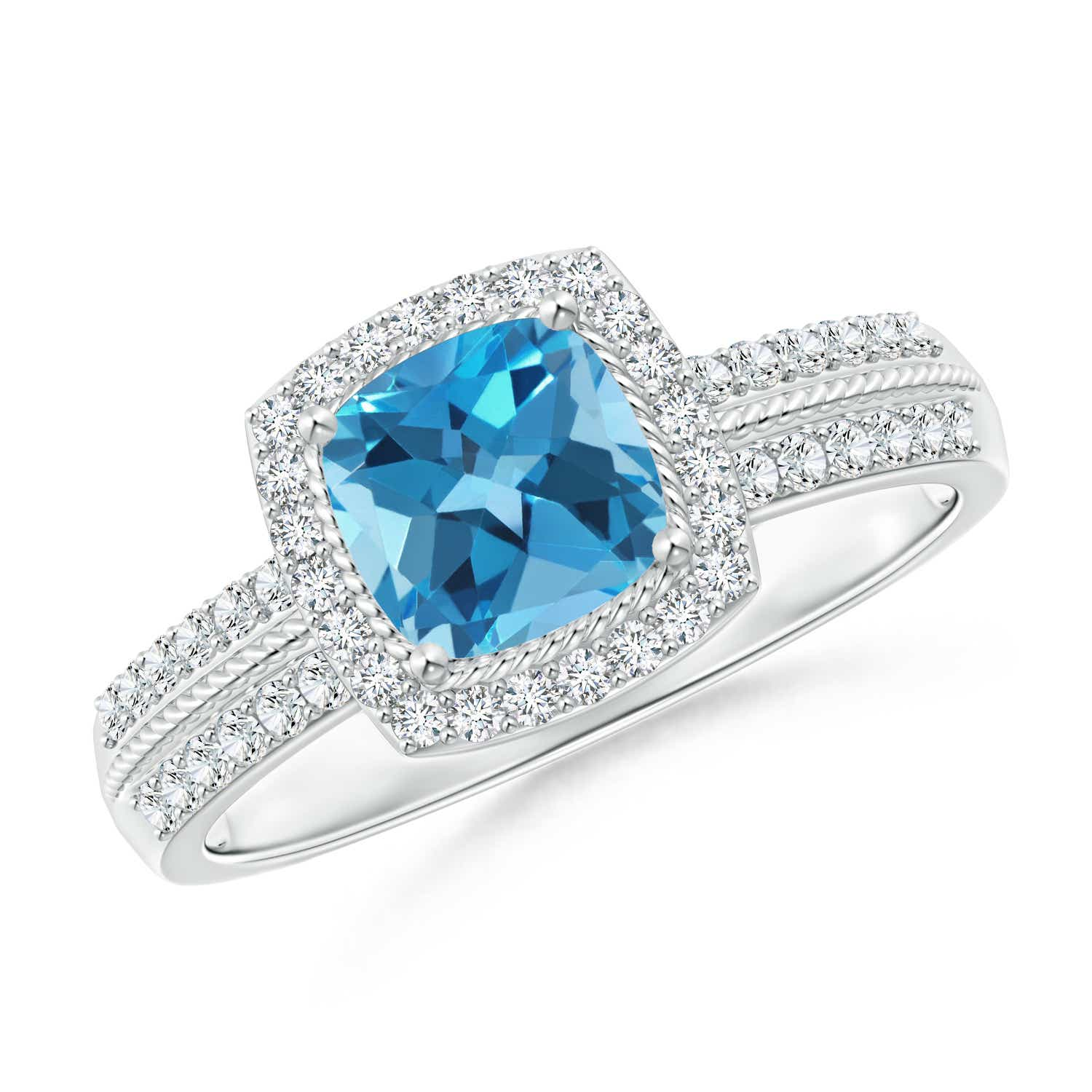 Angara Cushion Swiss Blue Topaz and Diamond Halo Ring in Two Tone bf7Ot