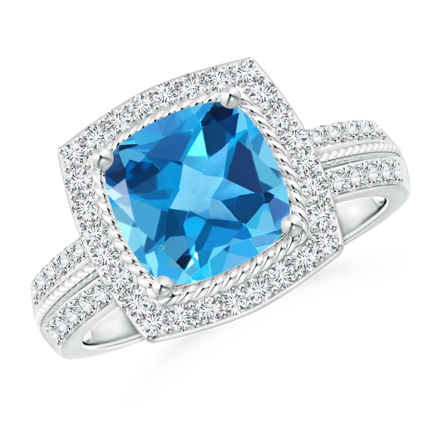 Angara Diamond Halo and Swiss Blue Topaz Engagement Ring in Rose Gold NPGP0K0mk