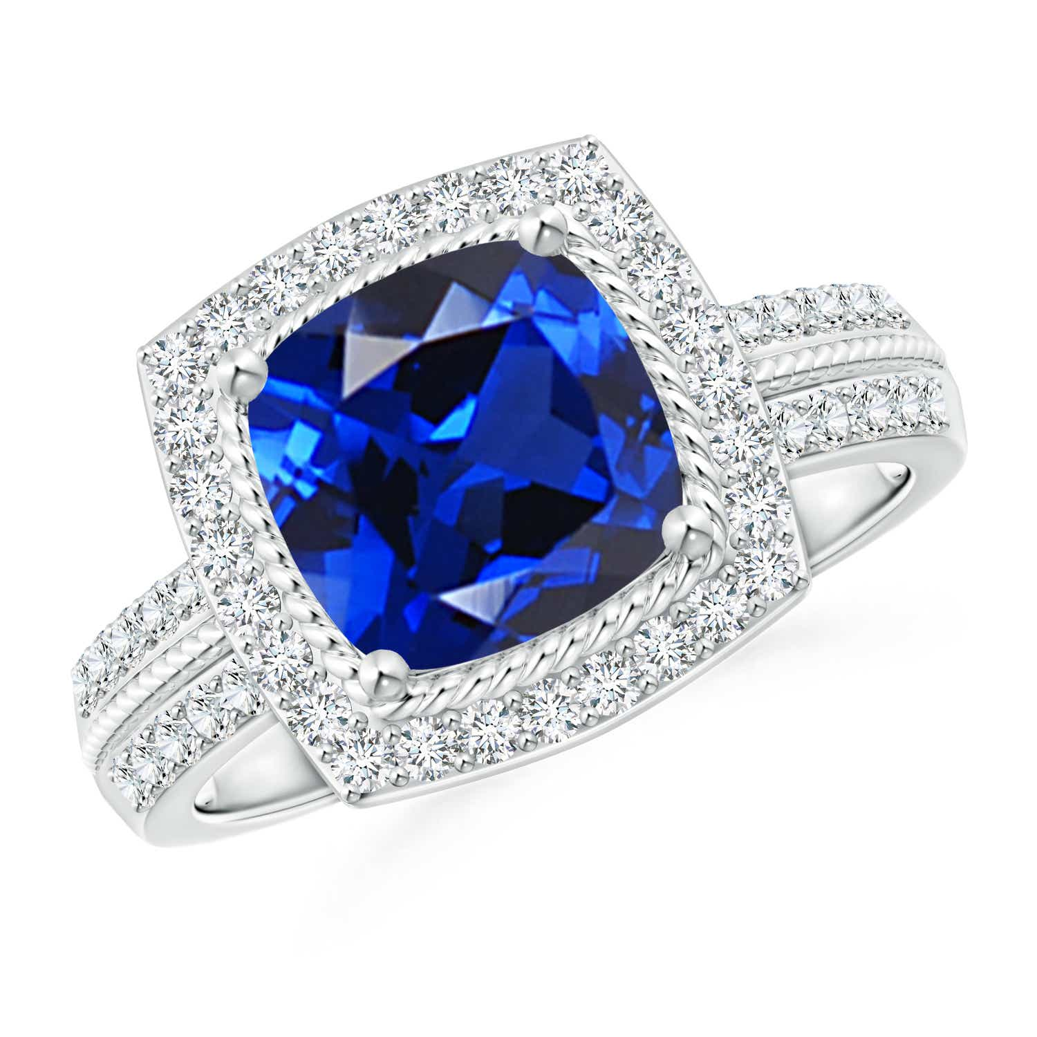 Cushion-Cut Lab Created Sapphire Ring with Diamond Halo - Angara.com